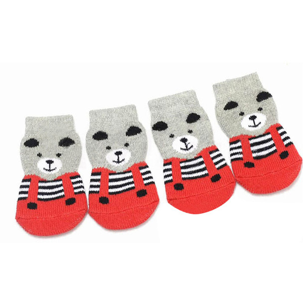 Red/Grey Bear Dog Socks