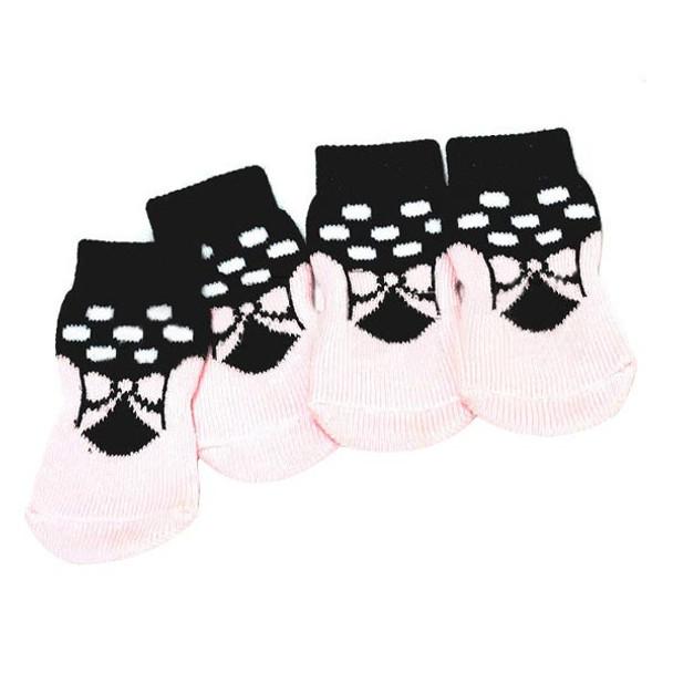 Black/Pink Ballet Dog Socks
