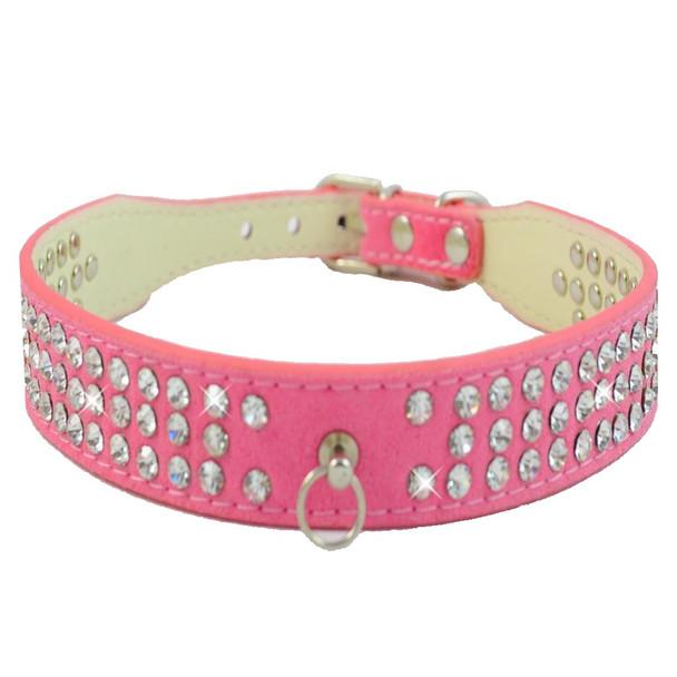 Pink Suede Triple Rhinestones Dog Collar