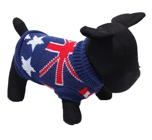 Blue Flag Design Knitted Dog Jumper