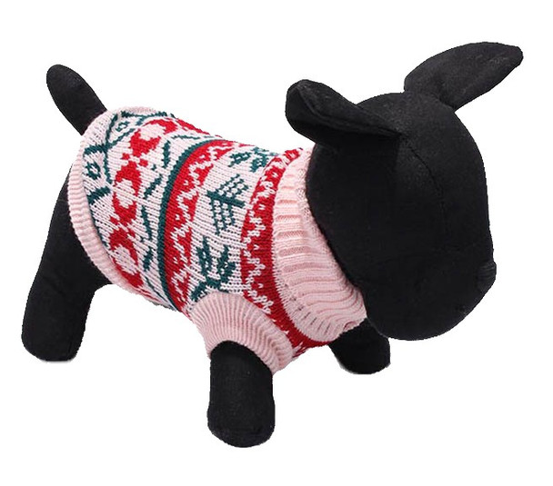 Pink Winter Design Knitted Dog Jumper