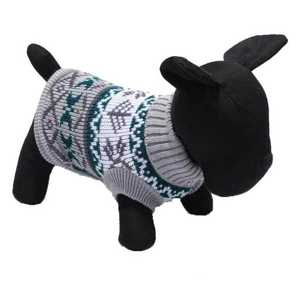 Grey Winter Design Knitted Dog Jumper