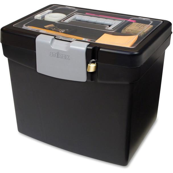 Storex Portable File Box with Top Organizer - 1 Each (STX61504B03C)