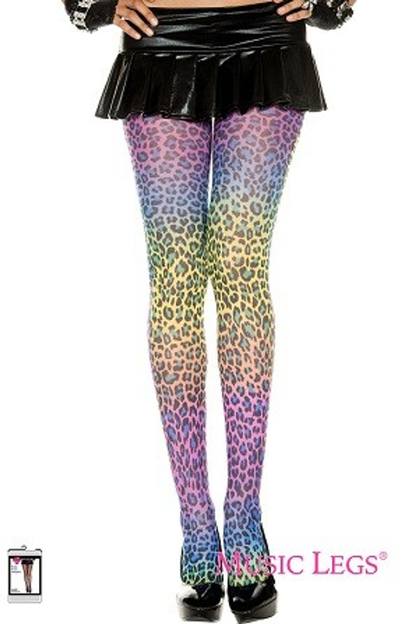 7449c7c89937 Leopard Print Rainbow Tights Stockings From Costumes to buy.