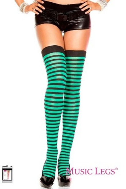 74840f868 Black and Kelly Green Striped Opaque Thigh Hi Stocking and Accessories