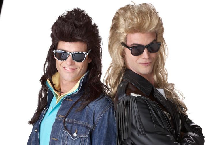 80's Rock Mullet Brown Wig