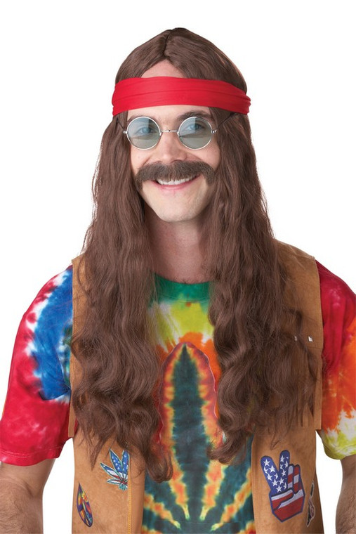 Hippie Man Brown Wig and Moustache