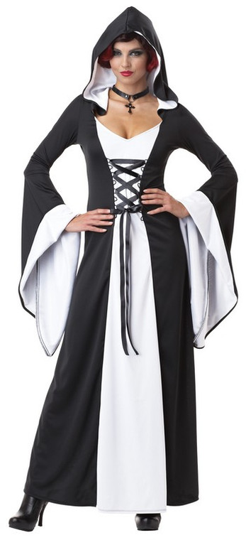 Deluxe Hooded Robe/Dress White and Black Costume