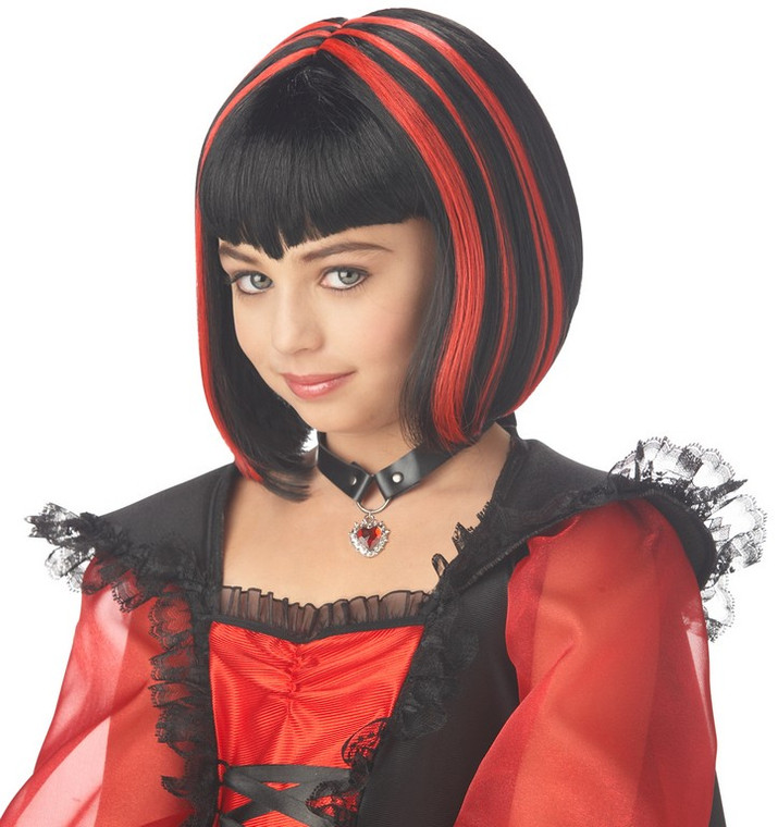 Vampire Girl Black and Red Wig