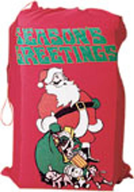 Santa Flannel Bag with Drawstring Top