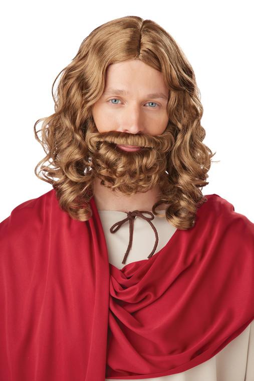 Brown Jesus Wig and Brown Beard