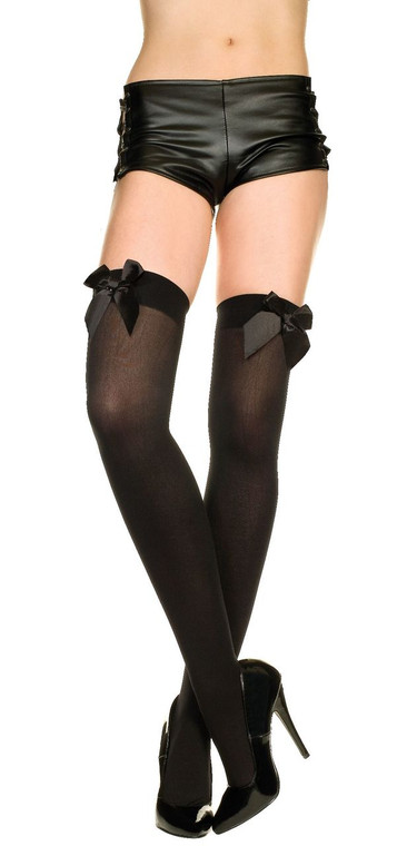 Black Opaque Thigh Hi Stockings With Black Bow