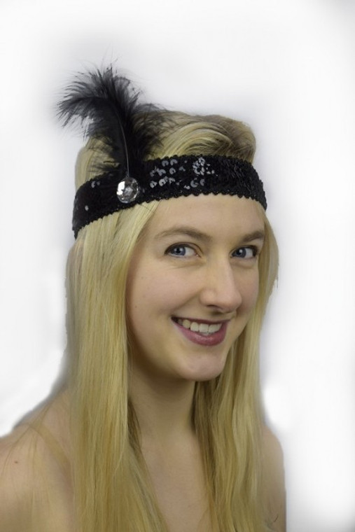 Black Sequin 1920s Headband with Black Feather