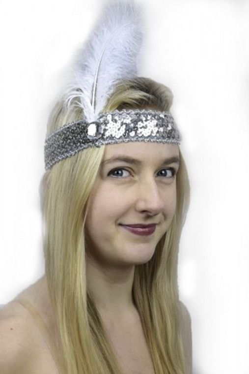 Silver Sequined 1920s Headband with White Feather