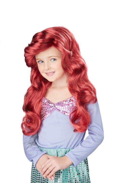 Lil Mermaid Kids Wavy Fire Red Wig