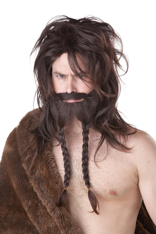 Viking Brown  Wig with Beard and Moustache