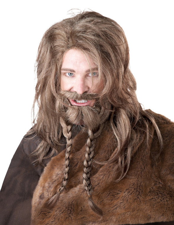 Viking Blonde Wig with Beard and Moustache