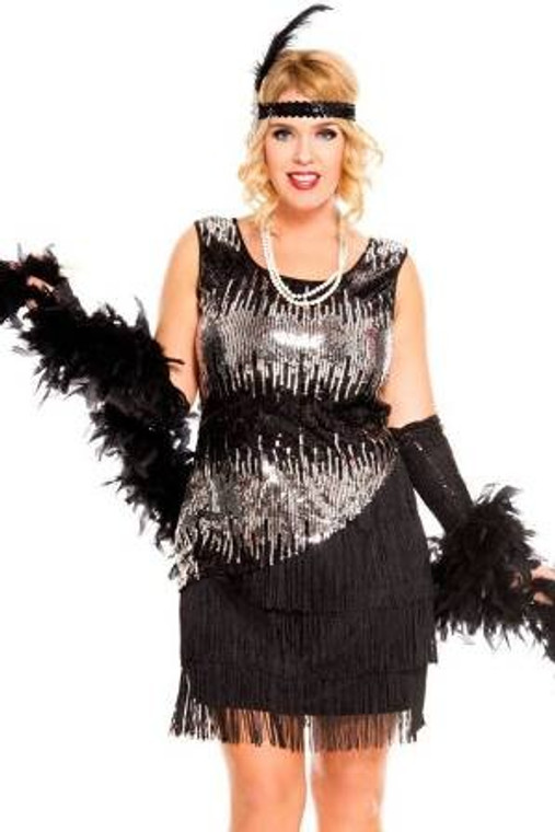 Fearless Flapper Black Costume Plus Size