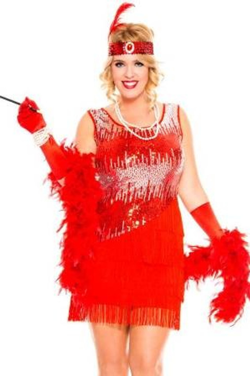 1920s Fearless Flapper Red Costumes Plus Size