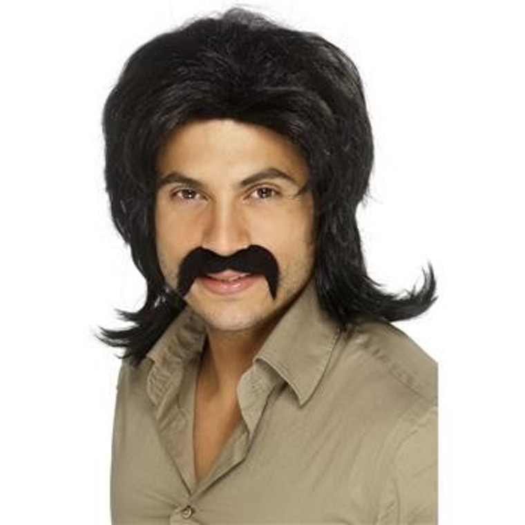 Retro Black Wig and Moustache