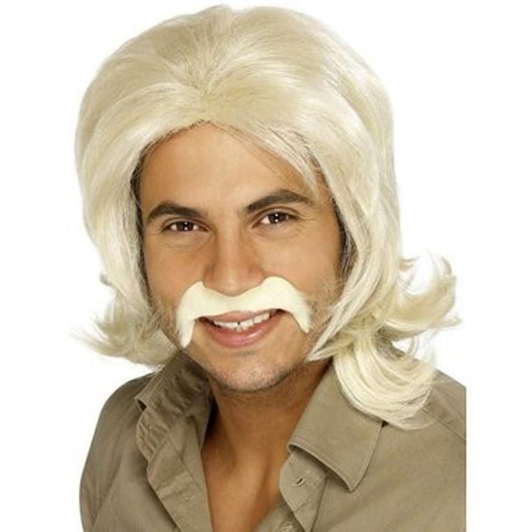 Retro Blonde Wig and Moustache