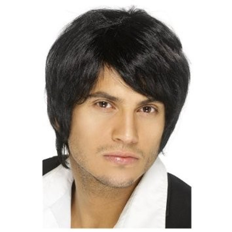 Boy Band Black Mens Wig