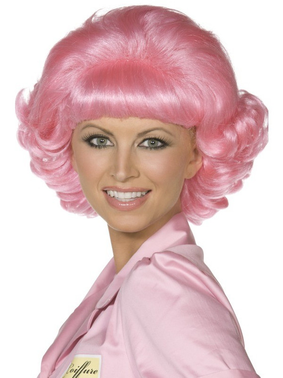 Frenchy Pink Bob Wig With Flick - Grease