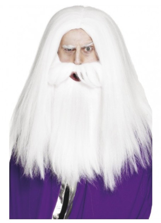 Magician Set White Beard and Wig
