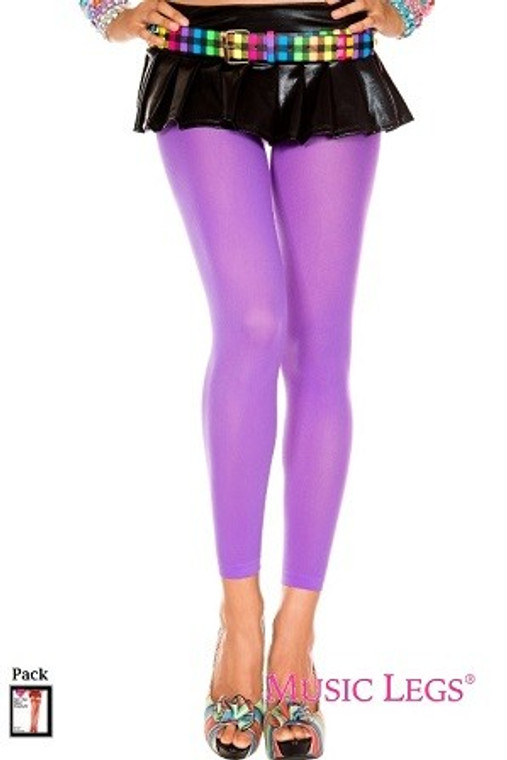 Purple Opaque Footless Tights