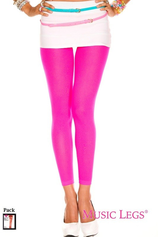 Pink Opaque Footless Tights