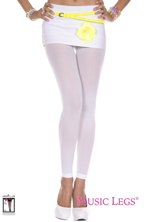 White Opaque Footless Tights