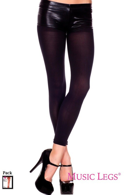 Black Opaque Footless Tights