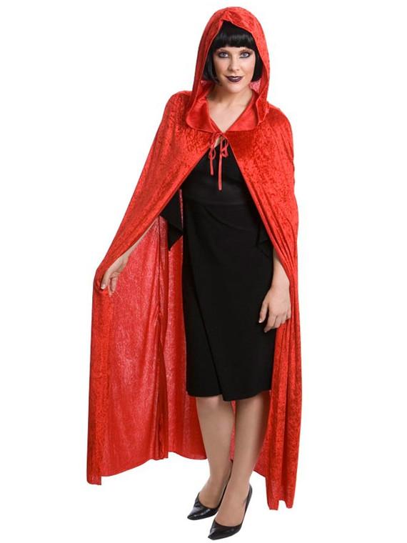 Velvet Hooded Cape Unisex Red