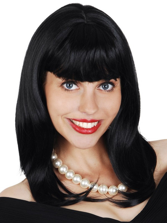 Norah with Fringe Black Shoulder Length Wig