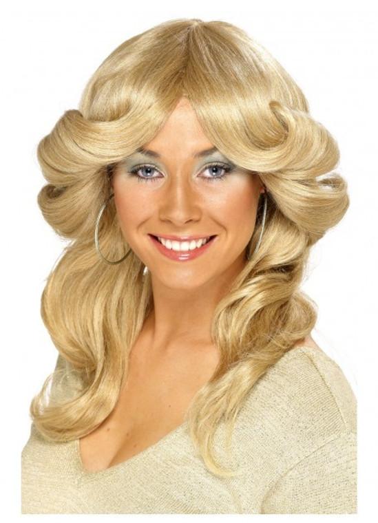 70s Long Blonde Flick Wig