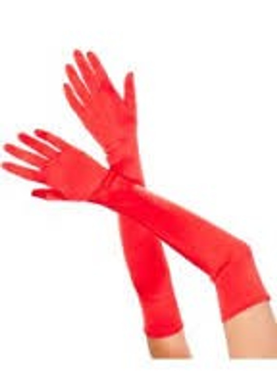 Long Satin Evening Gloves Red