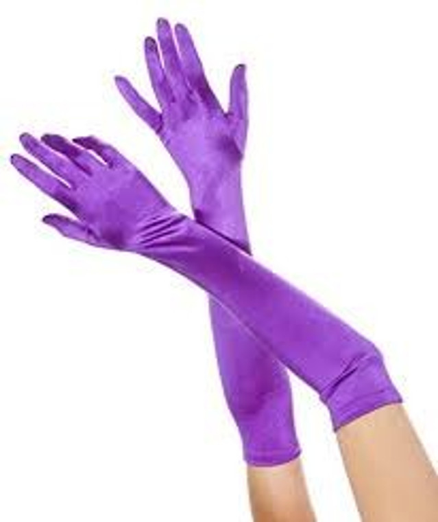 Long Satin Evening Gloves Purple