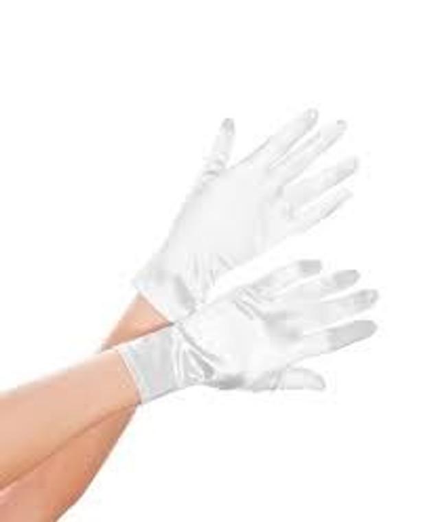 Short Satin Evening Gloves White