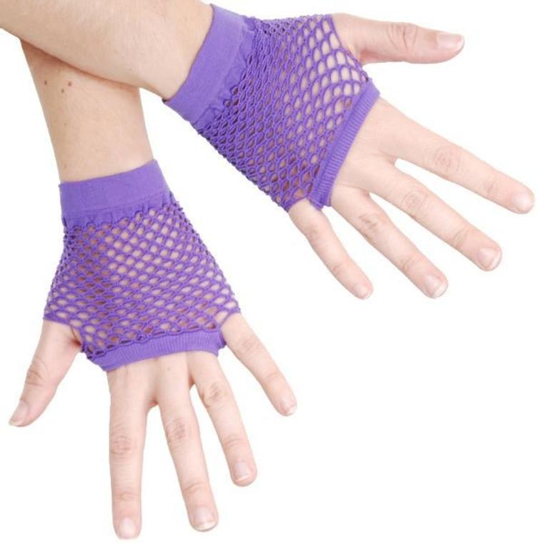 Purple 80s Fishnet Fingerless Gloves