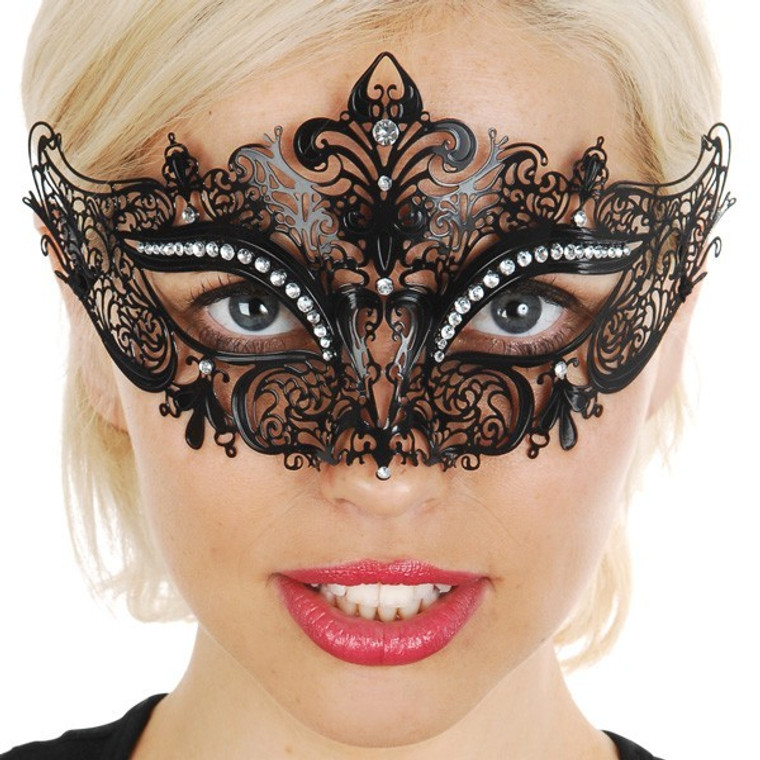 Black Metal Masquerade Mask With Clear Jewels