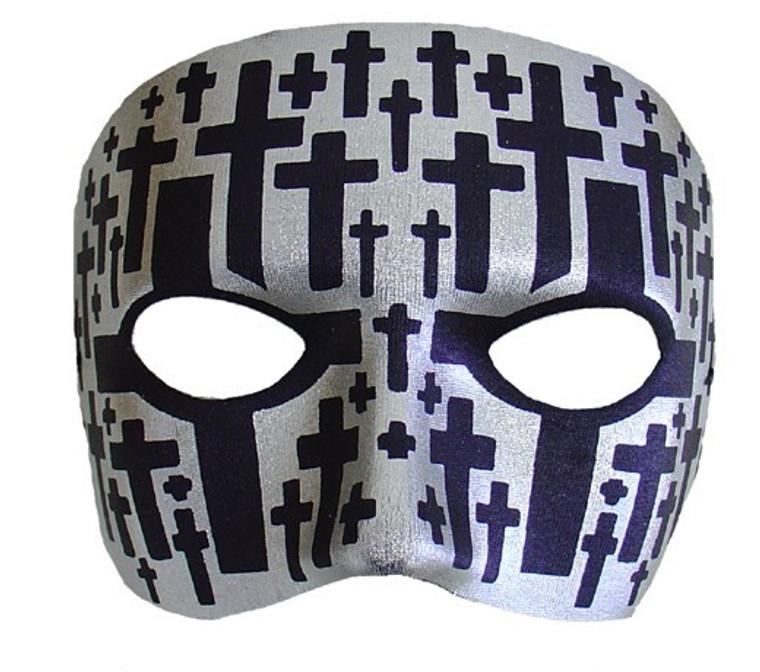 Mr X Silver With Black Crosses Masquerade Mask
