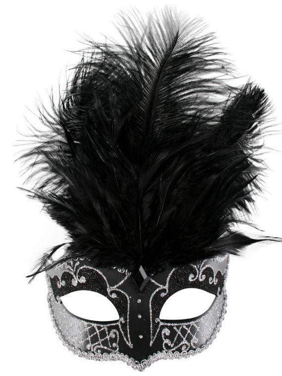 Black And Silver Masquerade Mask With Black Feather