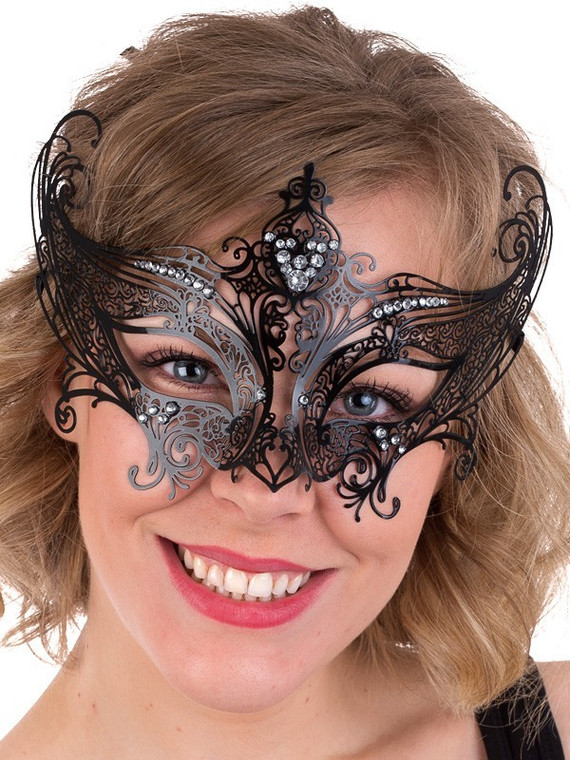Champagne Metal Black Masquerade Mask With Clear Jewels