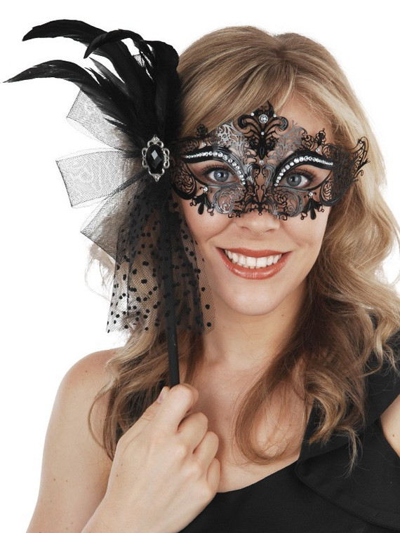 Metal Masquerade Mask With Stick And Feathers - Provence