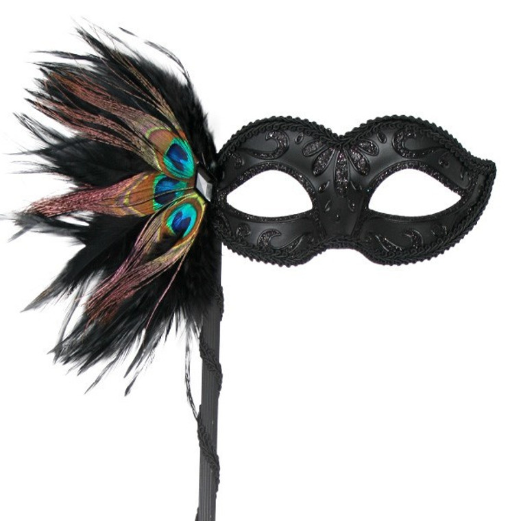 Decorated Black Eye Mask With Stick And Peacock Feathers
