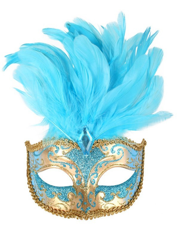 Aqua And Gold Masquerade Mask With Blue Feathers