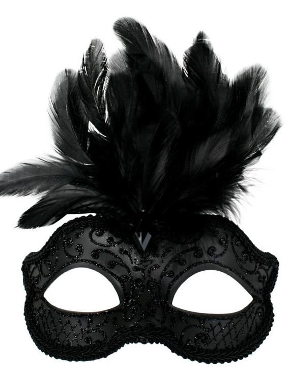 Daniella Black Masquerade Mask with Black Feathers