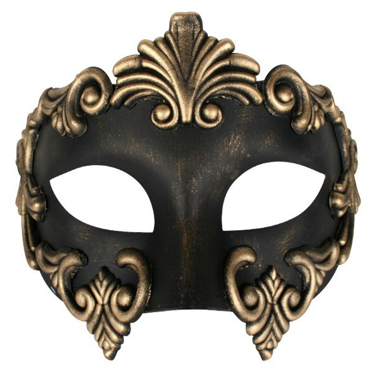 Lorenzo Black And Gold Masquerade Mask