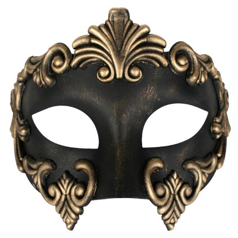 Lorenzo Black And Gold Masquerade Mask