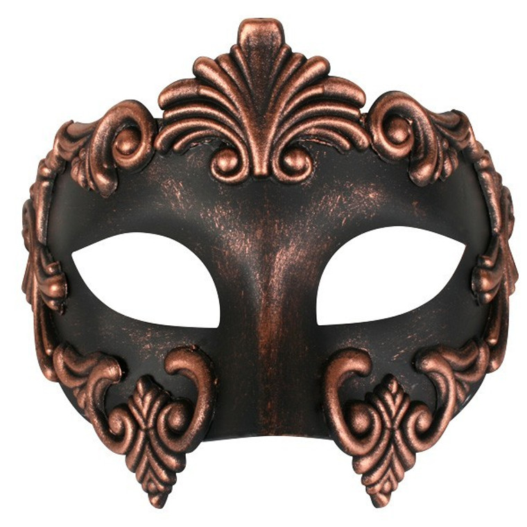 Lorenzo  Copper And Black Masquerade Mask